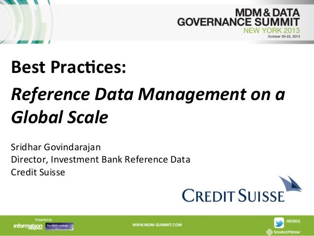 Credit Suisse, Reference Data Management on a Global Scale