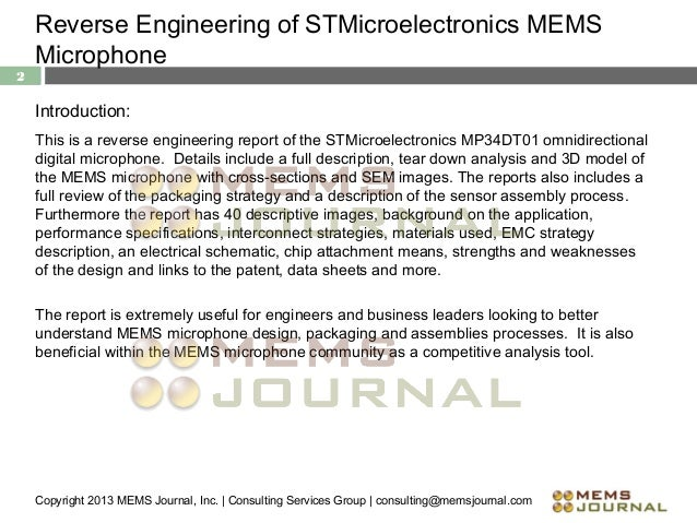 Stmicroelectronics mems microphone reverse engineering analysis