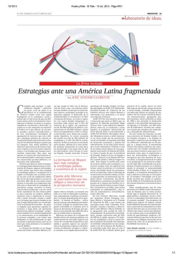 Artículo de José Antonio Llorente para El País