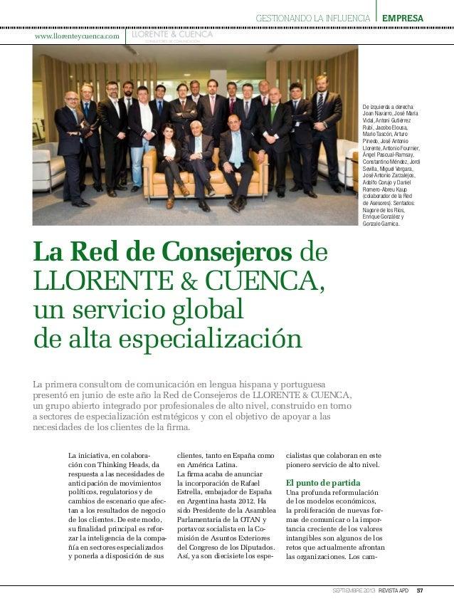 gestionando la influencia  empresa  www.llorenteycuenca.com  De izquierda a derecha Joan Navarro, José María Vidal, Antoni...