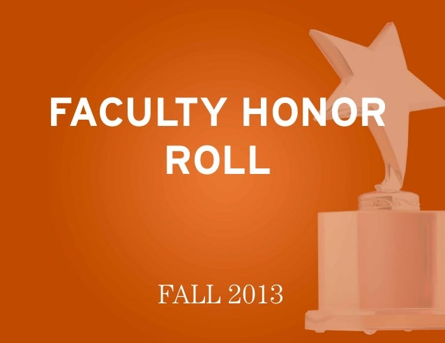 Faculty Honor Roll Fall 2013