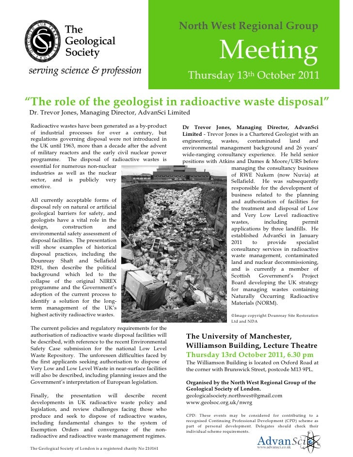 13.10.2011   Trevor Jones, The Role Of The Geologist In Radioactive Waste Disposal