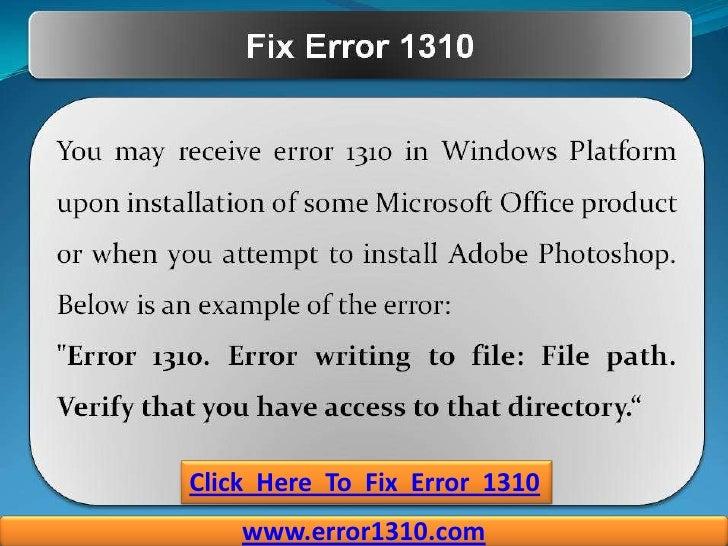 How to Fix Error 1310