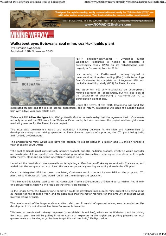 Mining Weekly Online 13112013 - Walkabout eyes botswana coal mine coal-to-liquids plant