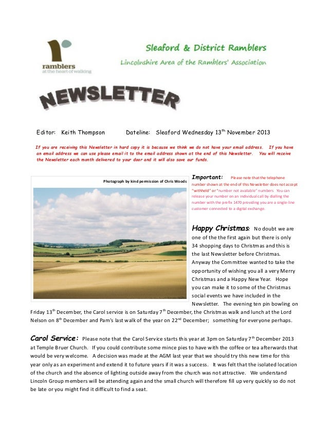 Editor: Keith Thompson  Dateline: Sleaford Wednesday 13 th November 2013  If you are receiving this Newsletter in hard cop...