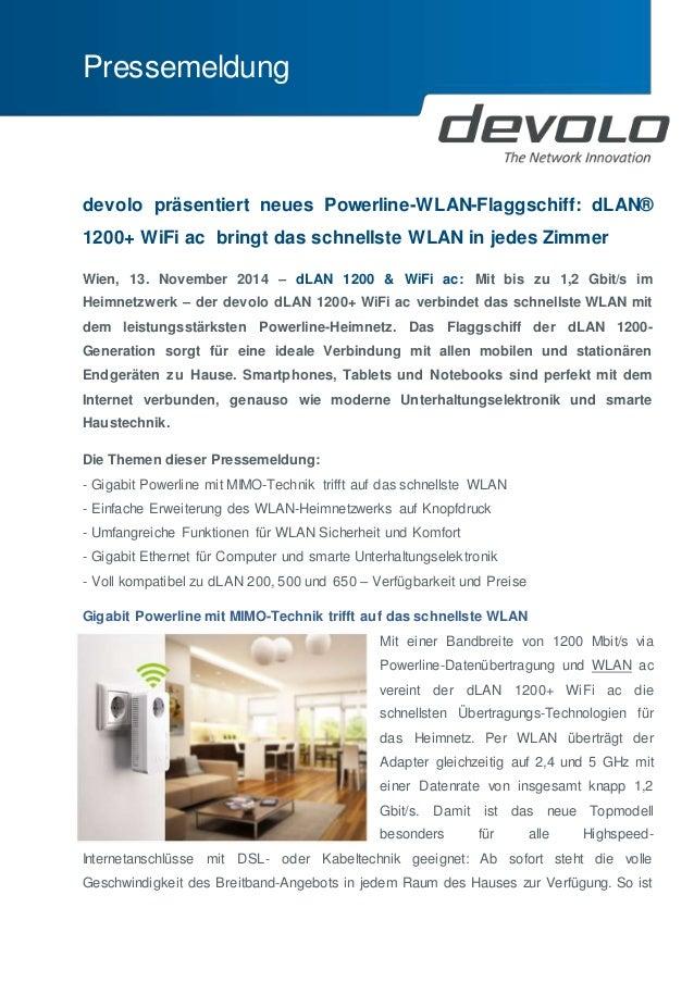Pressemeldung  devolo präsentiert neues Powerline-WLAN-Flaggschiff: dLAN®  1200+ WiFi ac bringt das schnellste WLAN in jed...