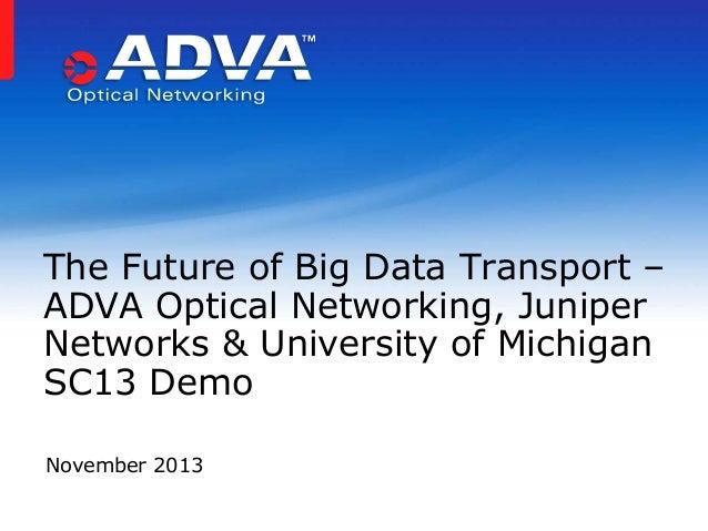 The Future of Big Data Transport – ADVA Optical Networking, Juniper Networks & University of Michigan SC13 Demo November 2...