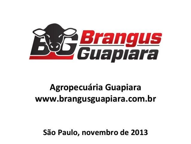 Agropecuária  Guapiara   www.brangusguapiara.com.br         São  Paulo,  novembro  de  2013