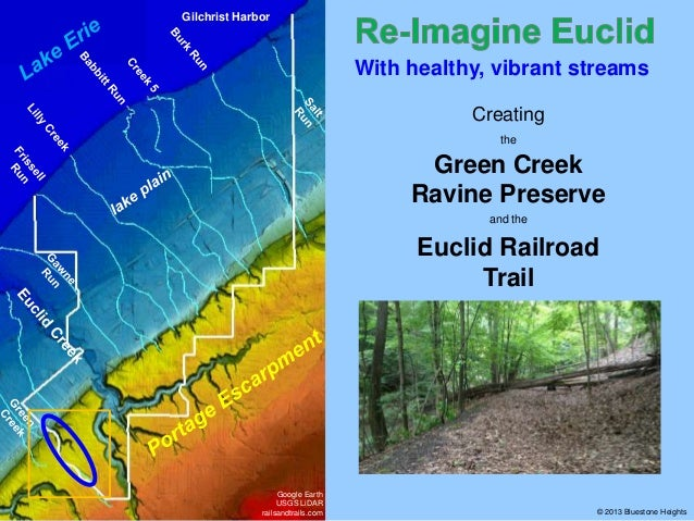 Gilchrist Harbor  With healthy, vibrant streams Creating the  Green Creek Ravine Preserve and the  Euclid Railroad Trail  ...