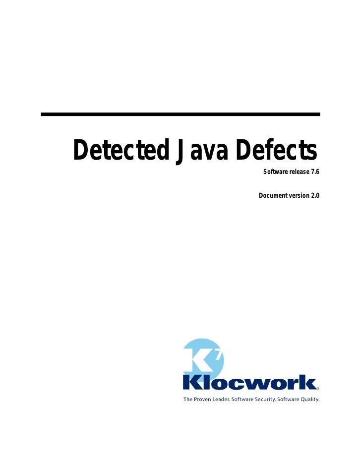 Detected Java Defects                Software release 7.6               Document version 2.0
