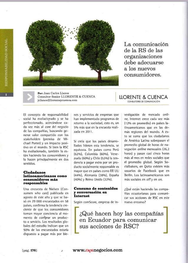 Juan Carlos Llanos escribe para revista Ekos