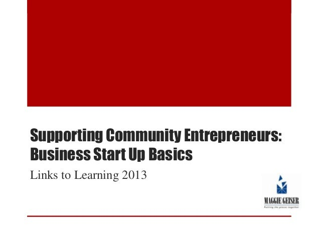 Supporting Community Entrepreneurs: Business Startup Basics