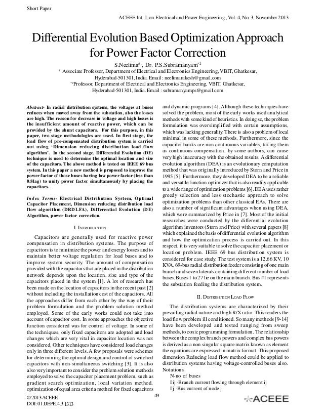 Short Paper ACEEE Int. J. on Electrical and Power Engineering , Vol. 4, No. 3, November 2013  Differential Evolution Based...