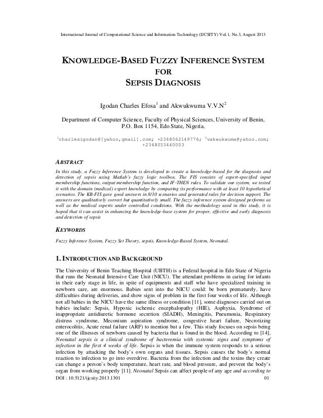 KNOWLEDGE-BASED FUZZY INFERENCE SYSTEM FOR SEPSIS DIAGNOSIS