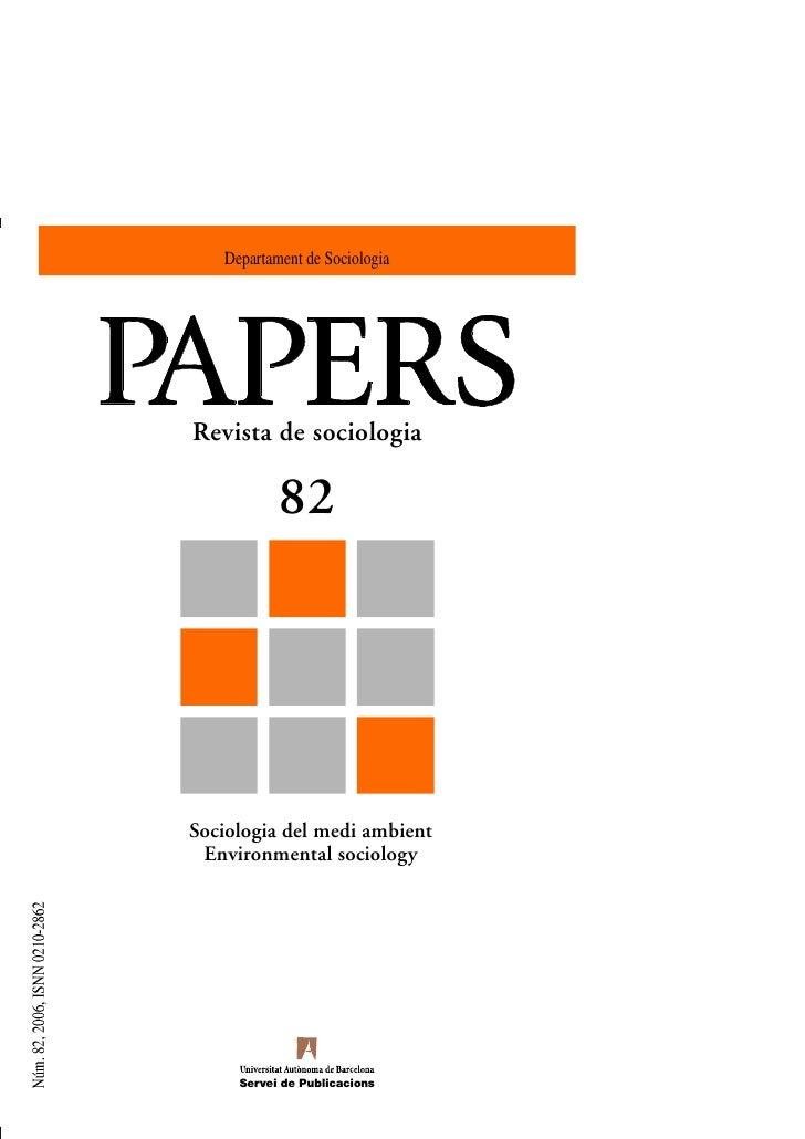 Departament de SociologiaRevista de sociologia           82Sociologia del medi ambient Environmental sociology     Servei ...