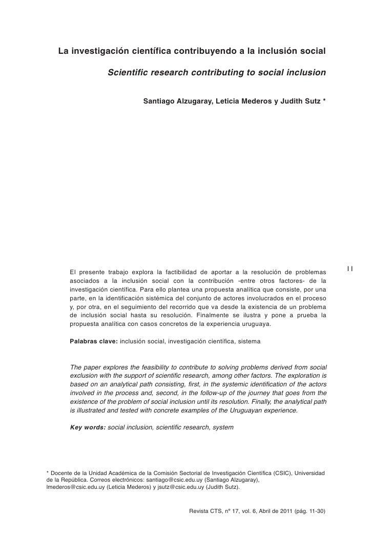 La investigación científica contribuyendo a la inclusión social                      Scientific research contributing to s...