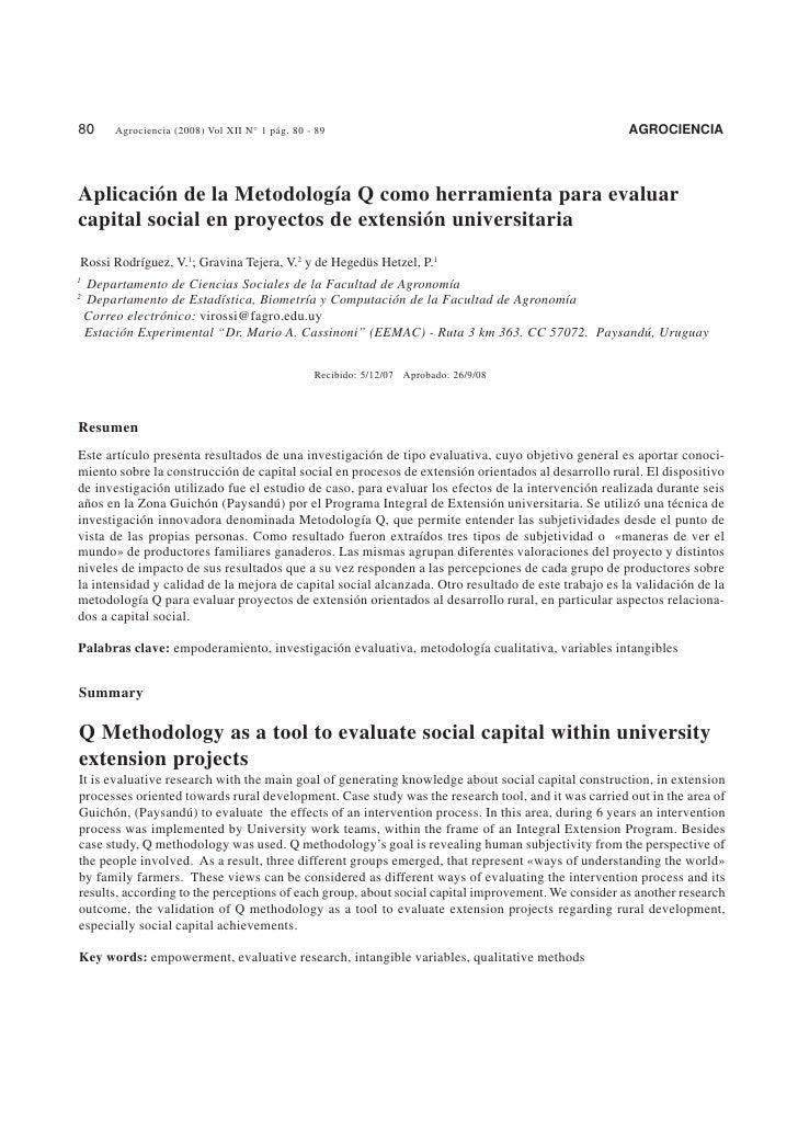 Aplicación de la Metodología Q como herramienta para evaluar