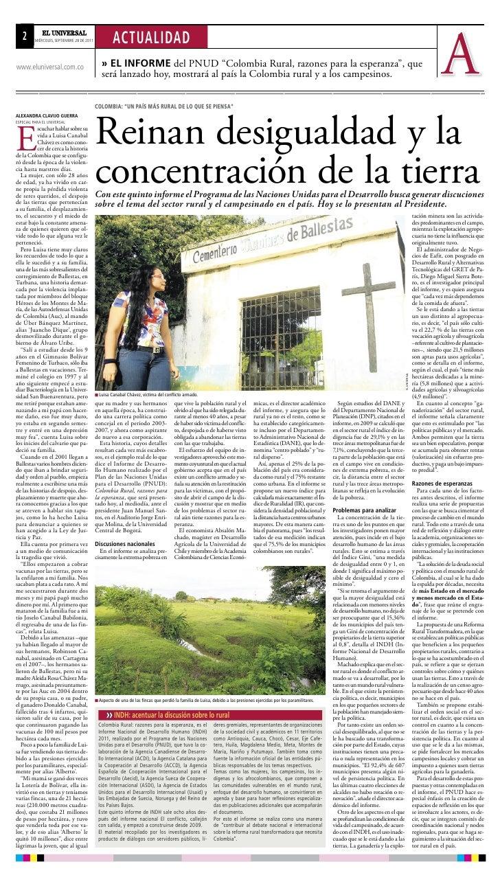 22     MIÉRCOLES, SEPTIEMBRE 28 DE 2011           ACTUALIDADwww.eluniversal.com.co                          » El informe d...