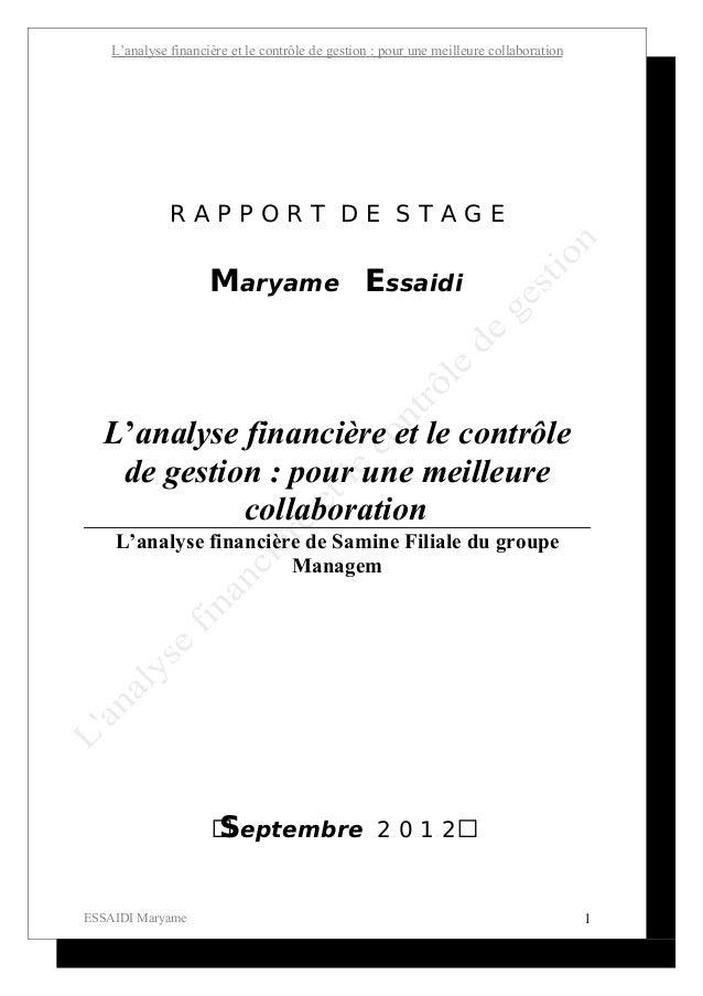 L'analyse financière et le contrôle de gestion : pour une meilleure collaboration              RAPPORT DE STAGE           ...