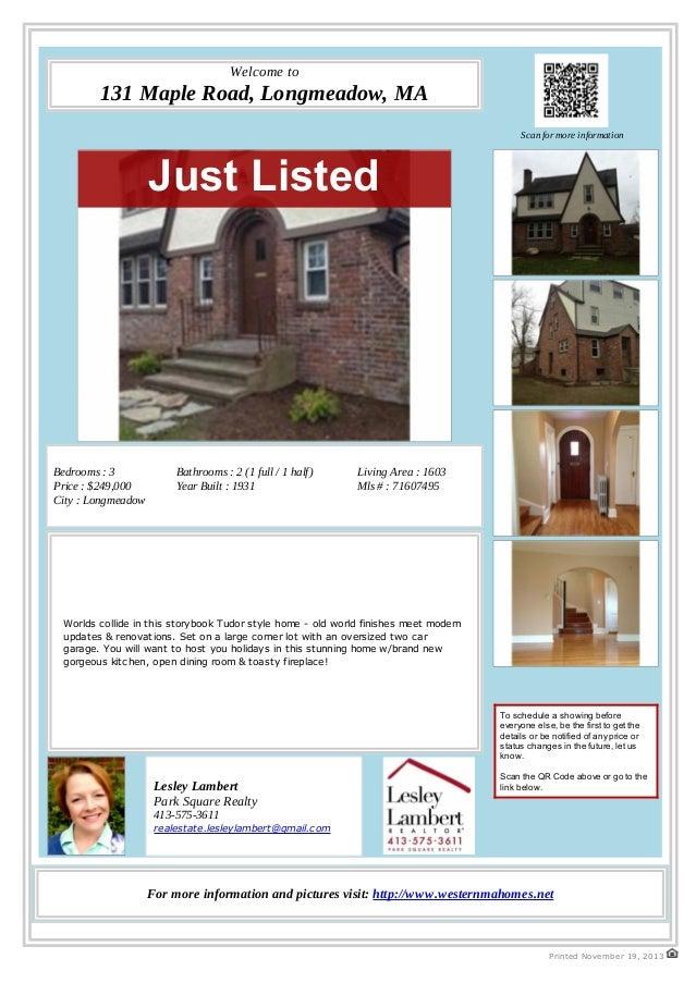 131 Maple Road, Longmeadow, MA - A Lovely Tudor Home for Sale