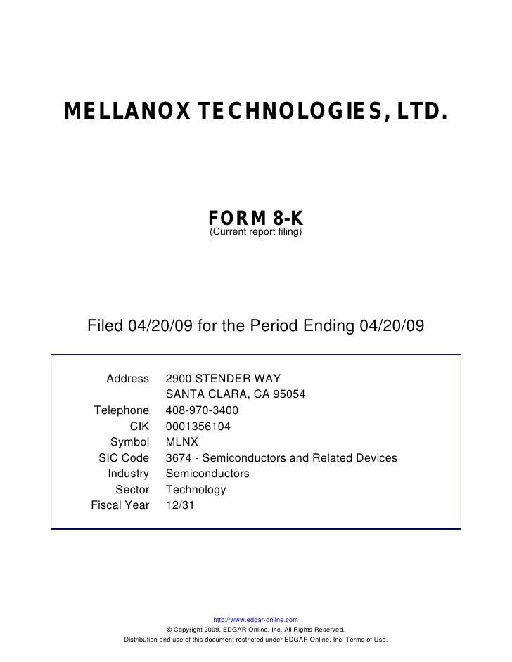 MELLANOX TECHNOLOGIES, LTD.                                      FORM 8-K                                   (Current repor...