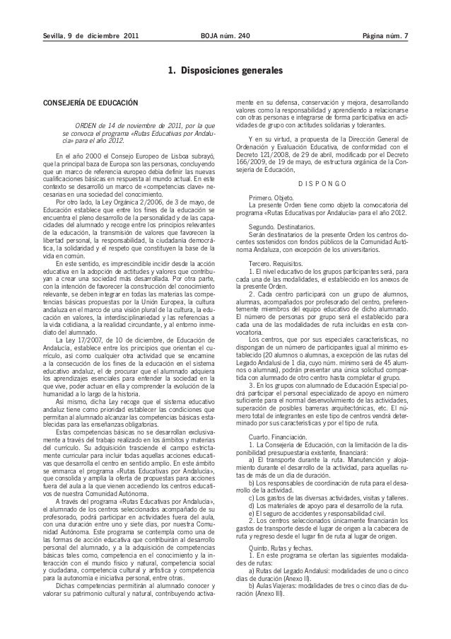 Sevilla, 9 de diciembre 2011 BOJA núm. 240 Página núm. 7 1. Disposiciones generales CONSEJERÍA DE EDUCACIÓN ORDEN de 14 de...