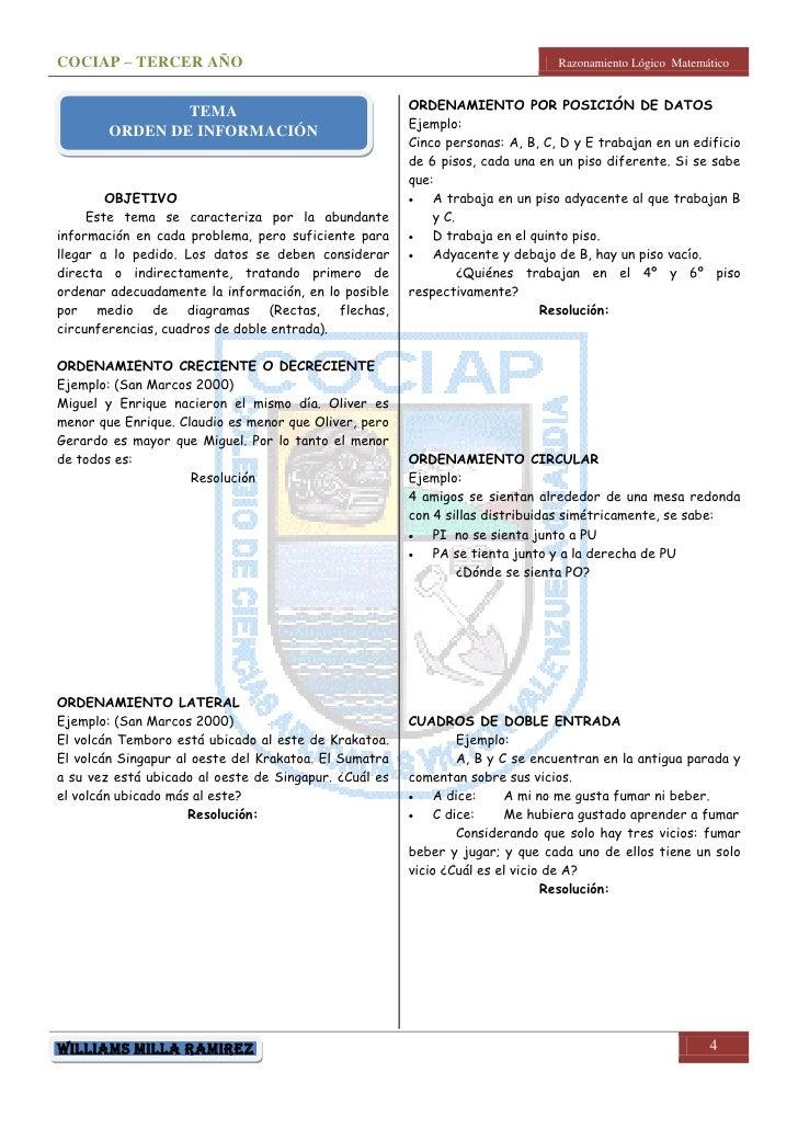 COCIAP – TERCER AÑO                                                            Razonamiento Lógico Matemático             ...