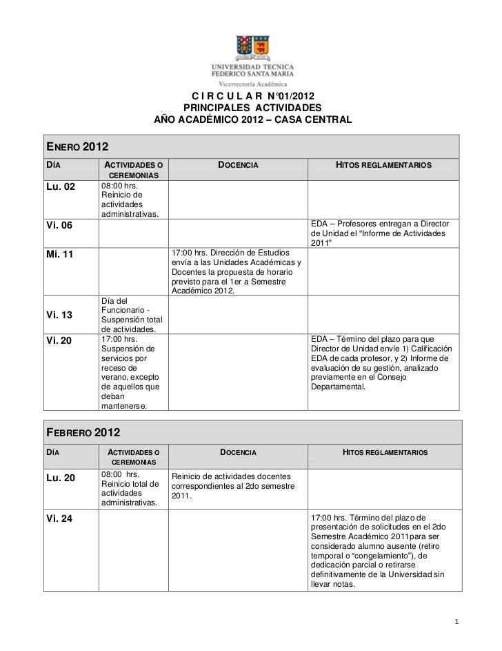C I R C U L A R N°01/2012                             PRINCIPALES ACTIVIDADES                        AÑO ACADÉMICO 2012 – ...