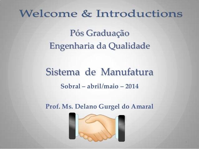 Pós Graduação Engenharia da Qualidade Sistema de Manufatura Sobral – abril/maio – 2014 Prof. Ms. Delano Gurgel do Amaral 1