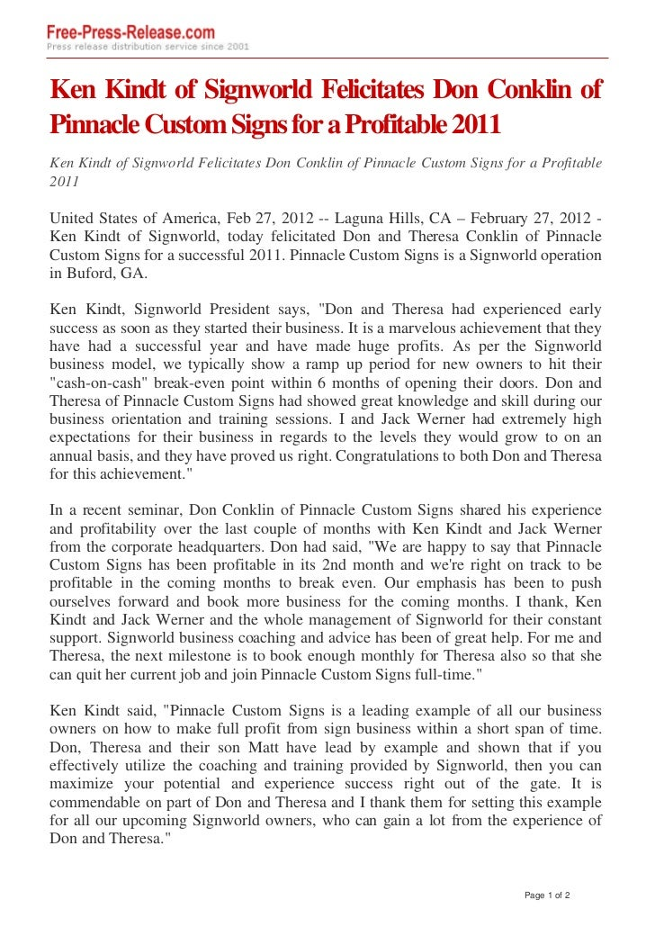 Ken Kindt of Signworld Felicitates Don Conklin ofPinnacle Custom Signs for a Profitable 2011Ken Kindt of Signworld Felicit...