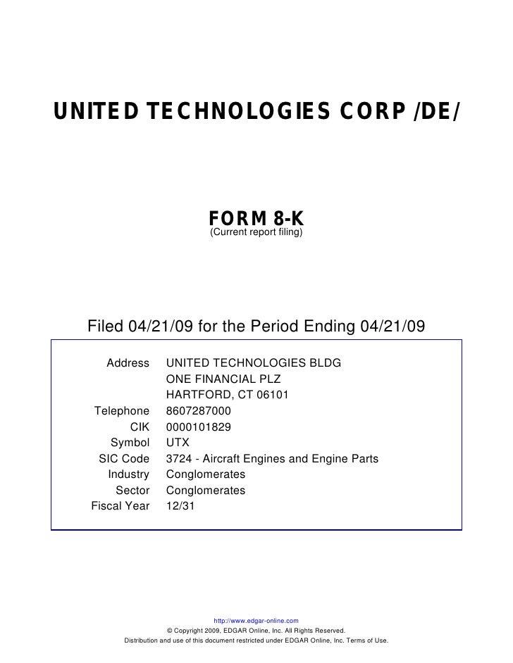 UNITED TECHNOLOGIES CORP /DE/                                       FORM 8-K                                    (Current r...