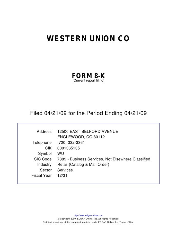 WESTERN UNION CO                                     FORM 8-K                                  (Current report filing)    ...