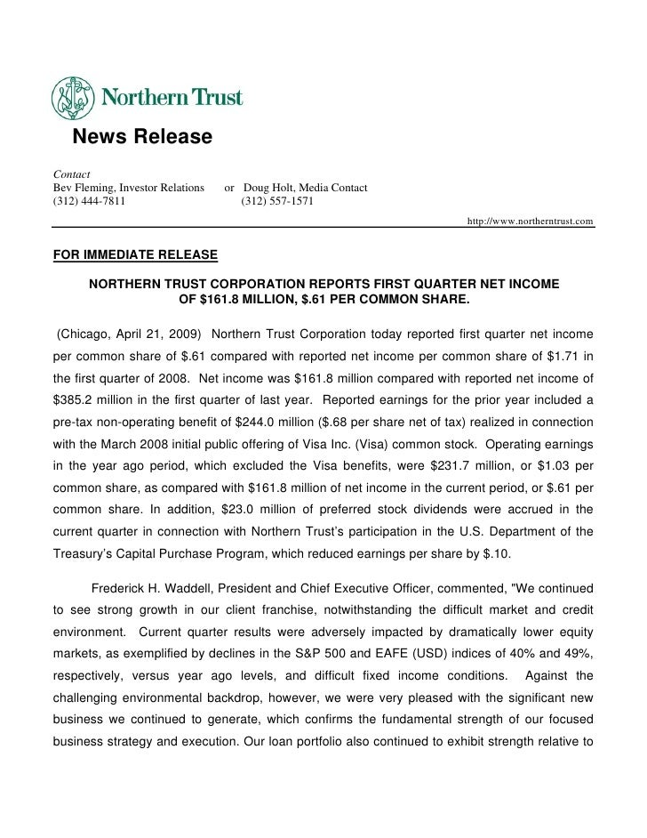 News Release Contact Bev Fleming, Investor Relations   or Doug Holt, Media Contact (312) 444-7811                       (3...