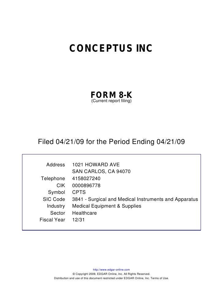 CONCEPTUS INC                                     FORM 8-K                                  (Current report filing)     Fi...