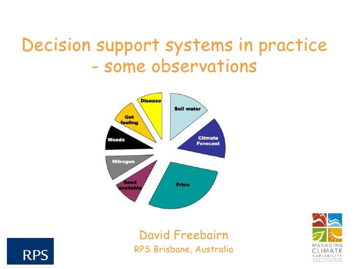 Decision support systems in practice - some observations. David Freebairn