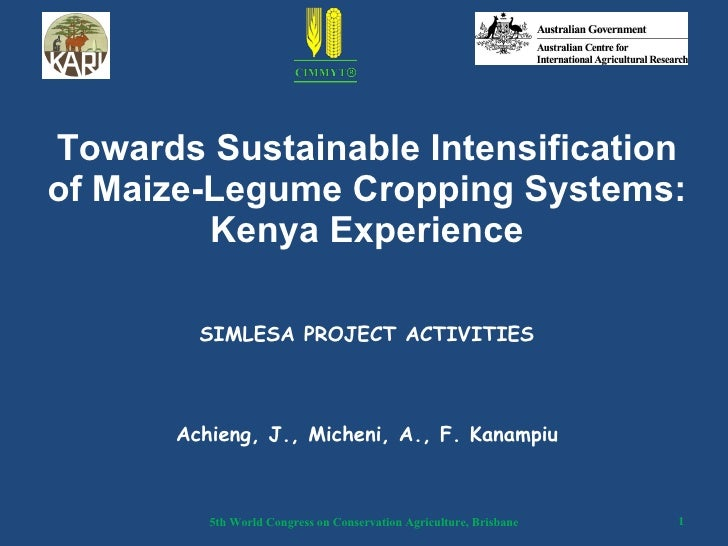 Towards Sustainable Intensification of Maize-Legume Cropping Systems: Kenya Experience SIMLESA PROJECT ACTIVITIES Achieng,...