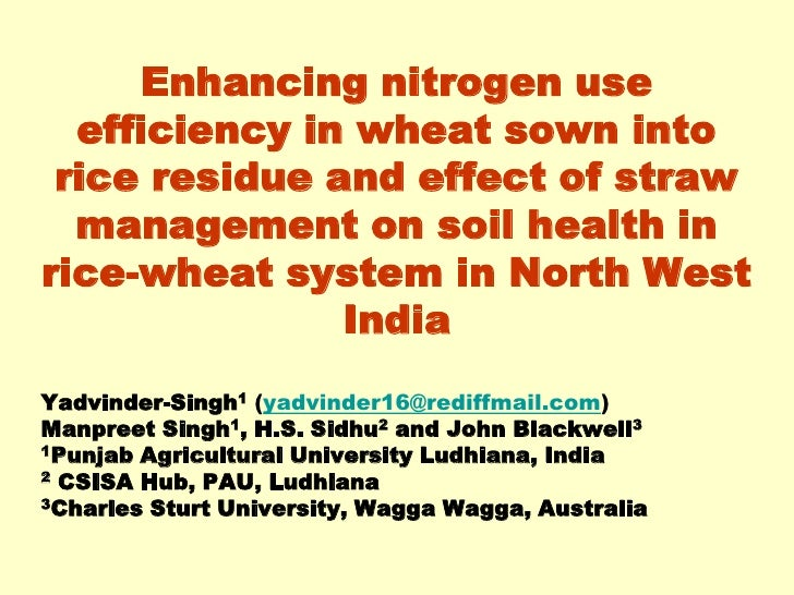Enhancing nitrogen use efficiency in wheat sown into rice residue and effect of straw management on soil health in rice-wheat system in North West India. Yadvinder Singh