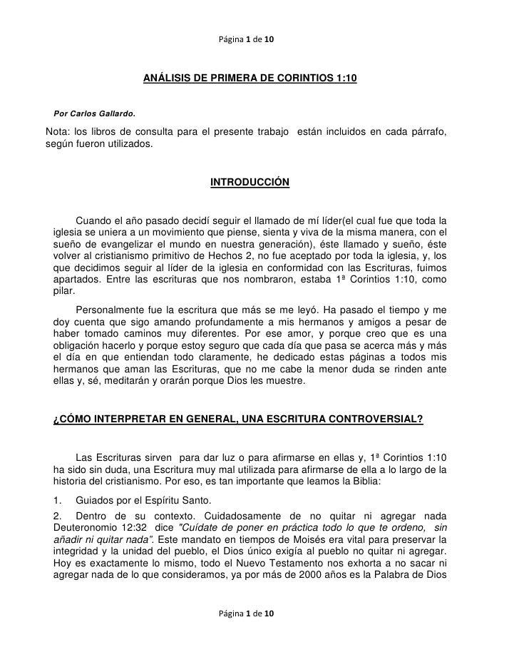 Página 1 de 10                        ANÁLISIS DE PRIMERA DE CORINTIOS 1:10 Por Carlos Gallardo.Nota: los libros de consul...