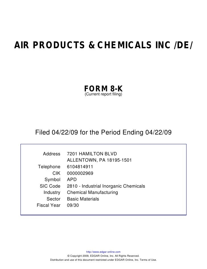 Q1 2009 Earning Report of Air Products and Chemicals, Inc.
