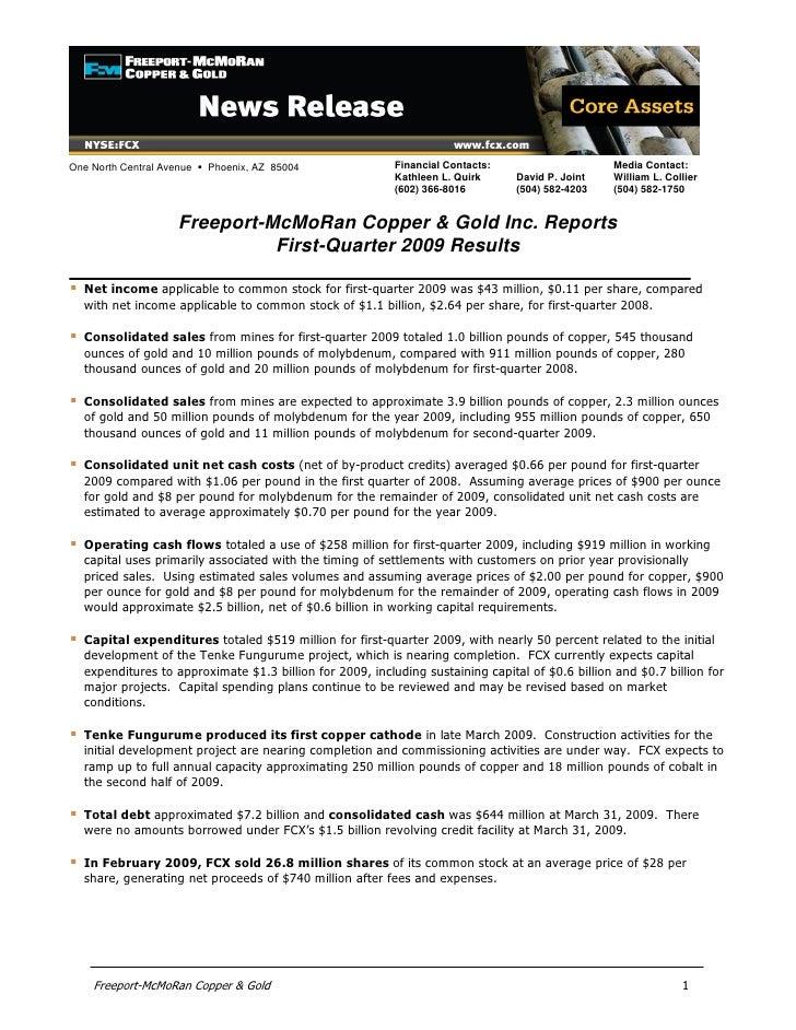 Q1 2009 Earning Report of Freeport McMoRan Copper & Gold, Inc.
