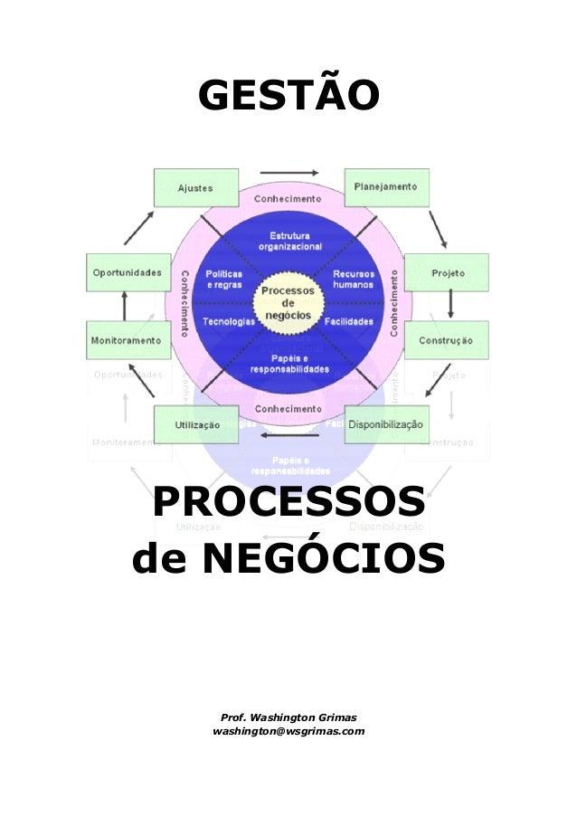 GESTÃO PROCESSOSde NEGÓCIOS   Prof. Washington Grimas  washington@wsgrimas.com