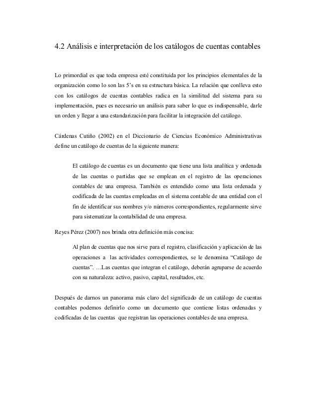 4.2 Análisis e interpretación de los catálogos de cuentas contables