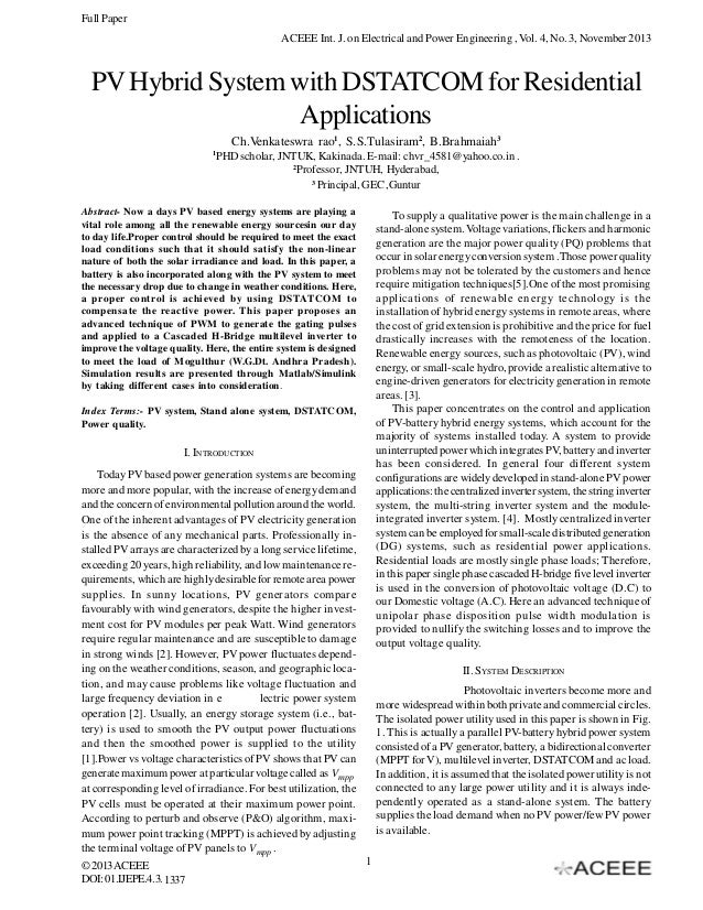 Full Paper ACEEE Int. J. on Electrical and Power Engineering , Vol. 4, No. 3, November 2013  PV Hybrid System with DSTATCO...