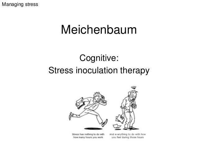 Meichenbaum Cognitive: Stress inoculation therapy Managing stress