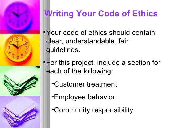 13.3 Writing Code Ethics