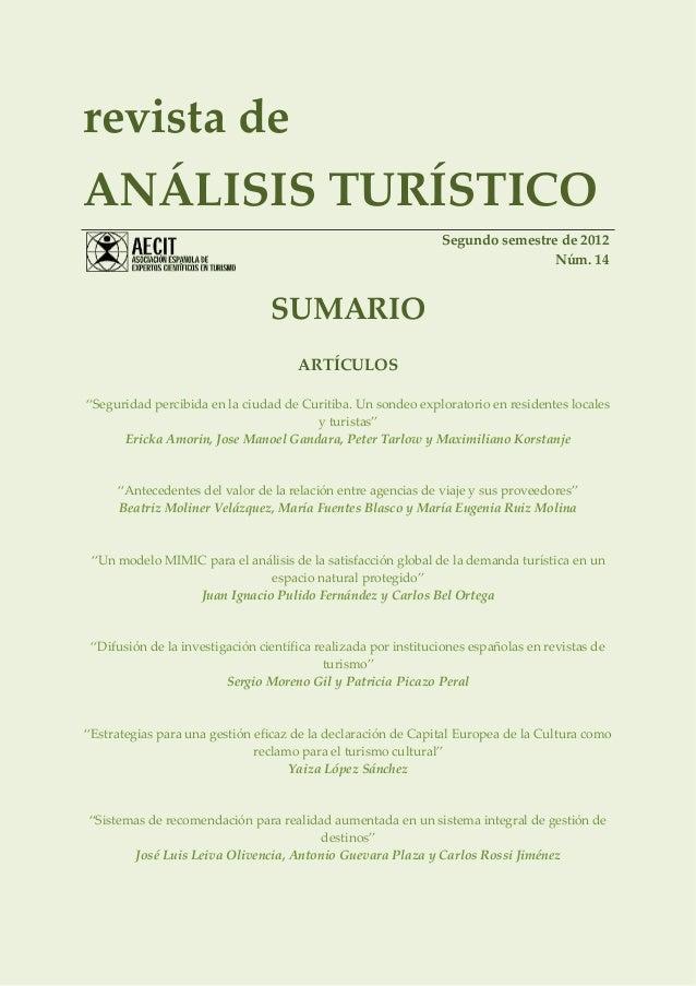 revista deANÁLISIS TURÍSTICO                                                                Segundo semestre de 2012      ...
