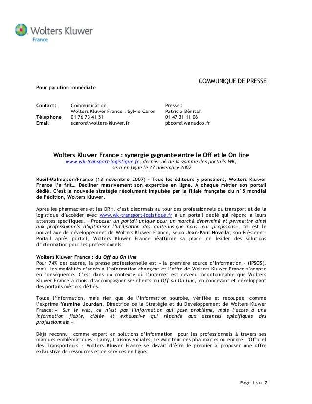 Page 1 sur 2 COMMUNIQUE DE PRESSE Pour parution immédiate Contact: Communication Wolters Kluwer France : Sylvie Caron Pres...