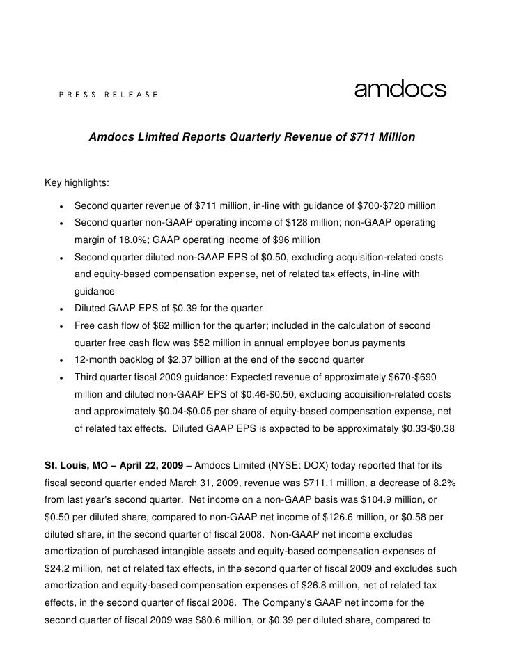 Amdocs Limited Reports Quarterly Revenue of $711 Million   Key highlights:        Second quarter revenue of $711 million,...