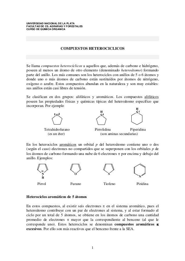 UNIVERSIDAD NACIONAL DE LA PLATA FACULTAD DE CS. AGRARIAS Y FORESTALES CURSO DE QUIMICA ORGANICA  COMPUESTOS HETEROCICLICO...