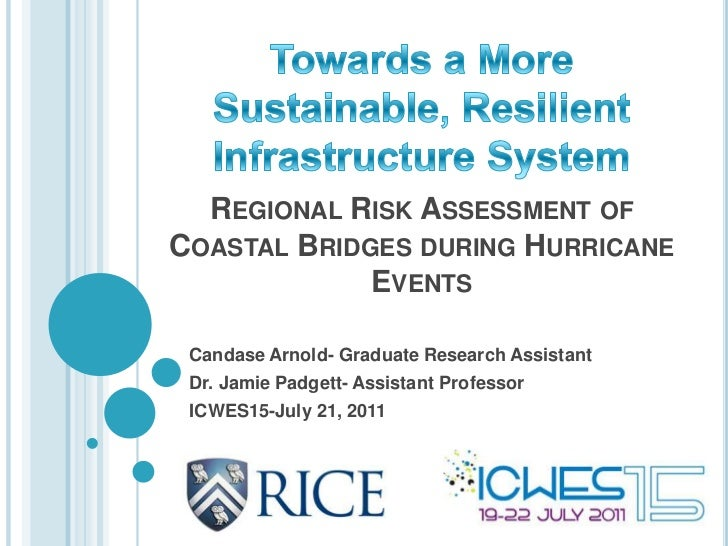 REGIONAL RISK ASSESSMENT OFCOASTAL BRIDGES DURING HURRICANE             EVENTS Candase Arnold- Graduate Research Assistant...